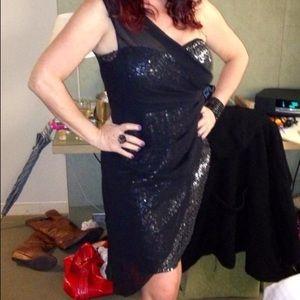 Sequin and sheer off the shoulder dress